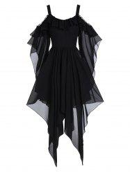 Asymmetrical Picot Trim Open Shoulder Flounce Gothic Dress -