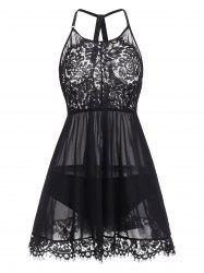 Plus Size Sheer Lace Panel Mesh Babydoll and Panty -