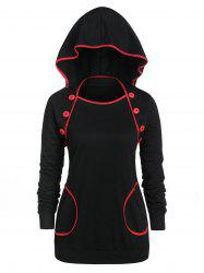 Plus Size Contrast Tunic Button Hoodie -