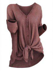 Plus Size High Low Knotted Knit Cardigan -