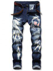 Skull Print Zip Fly Casual Jeans -