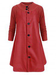 Button Up Stand Neck Knitted Panel Coat -
