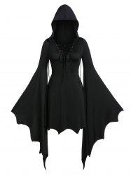 Plus Size Flare Sleeve Lace Up Gothic Tunic Hoodie -