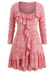 Plus Size Flounce Marled Square Collar T Shirt -