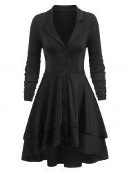 Button Up Lace-up Back Lapel Layered Skirted Coat -