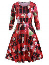Plus Size Printed Midi Christmas Party Dress -