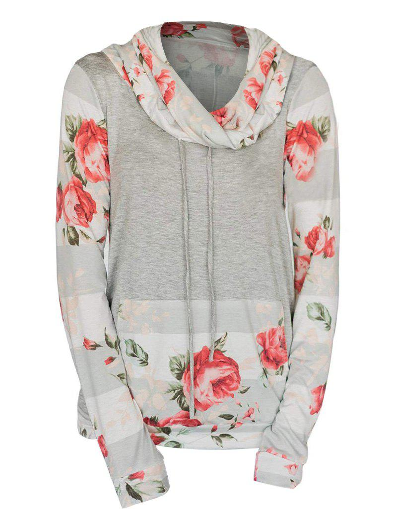 Chic Cowl Neck Striped Flower Print Long Sleeve Tee