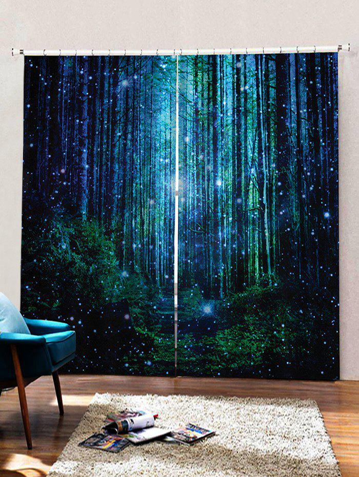 Trendy 2PCS Fireflies Forest Pattern Window Curtains