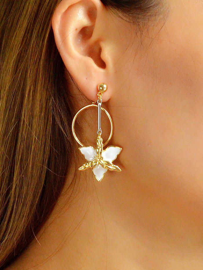 Latest Alloy Enamel Floral Ring Drop Earrings