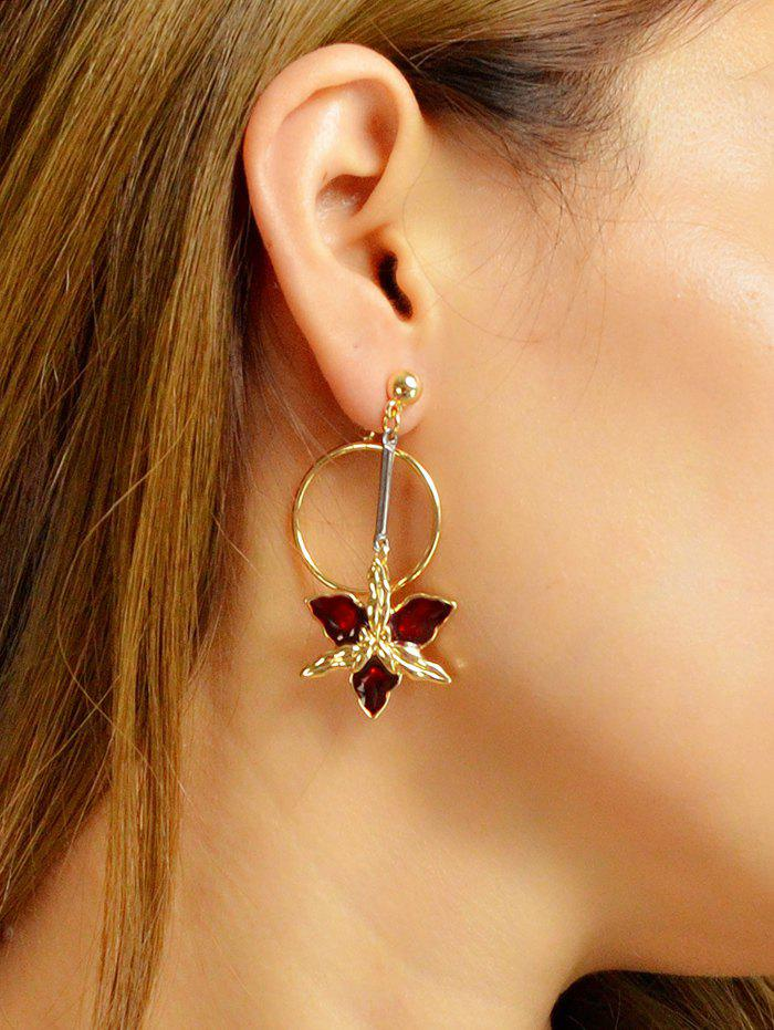 Outfits Alloy Enamel Floral Ring Drop Earrings