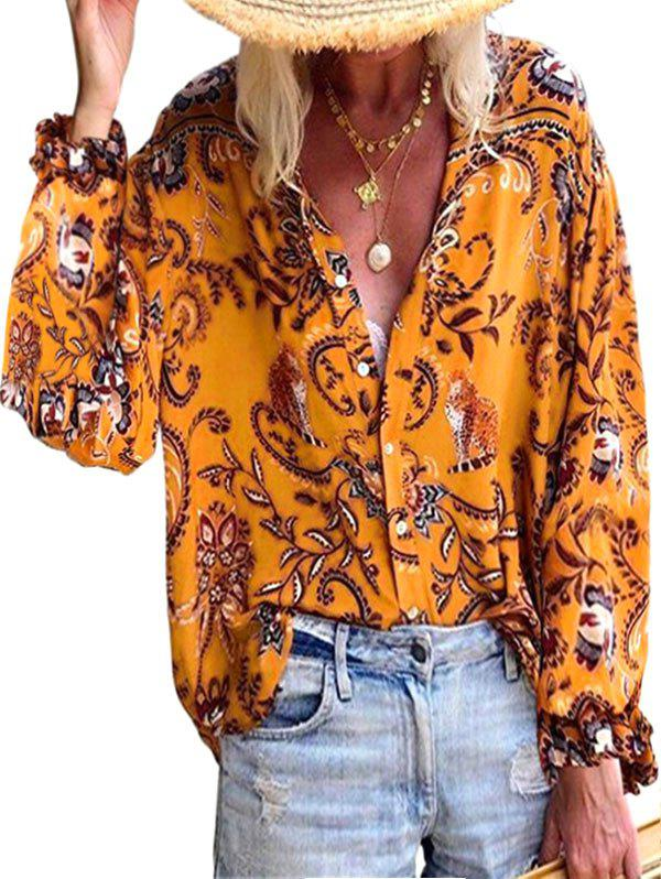 Unique Plant Tiger Print Poet Sleeve Button Up Shirt
