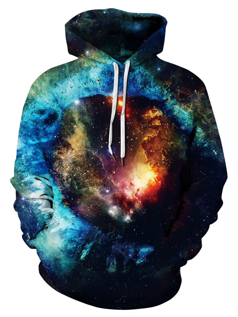 Affordable Plus Size Galaxy Print Drawstring Kangaroo Pocket Hoodie