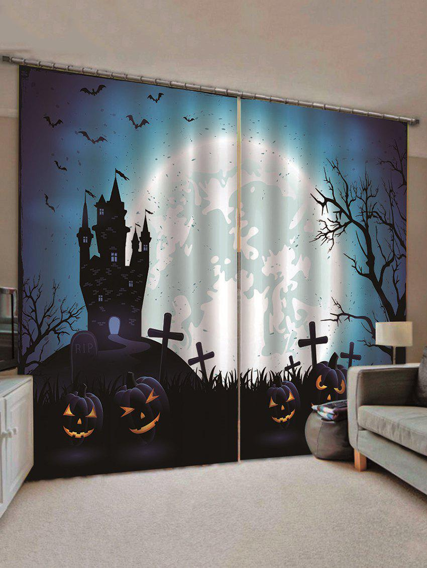 Shops 2PCS Halloween Pumpkin Castle Bat Pattern Window Curtains