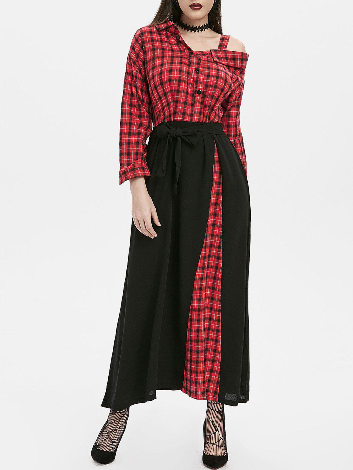 Outfit Plaid Button Embellished Skew Neck Maxi Dress