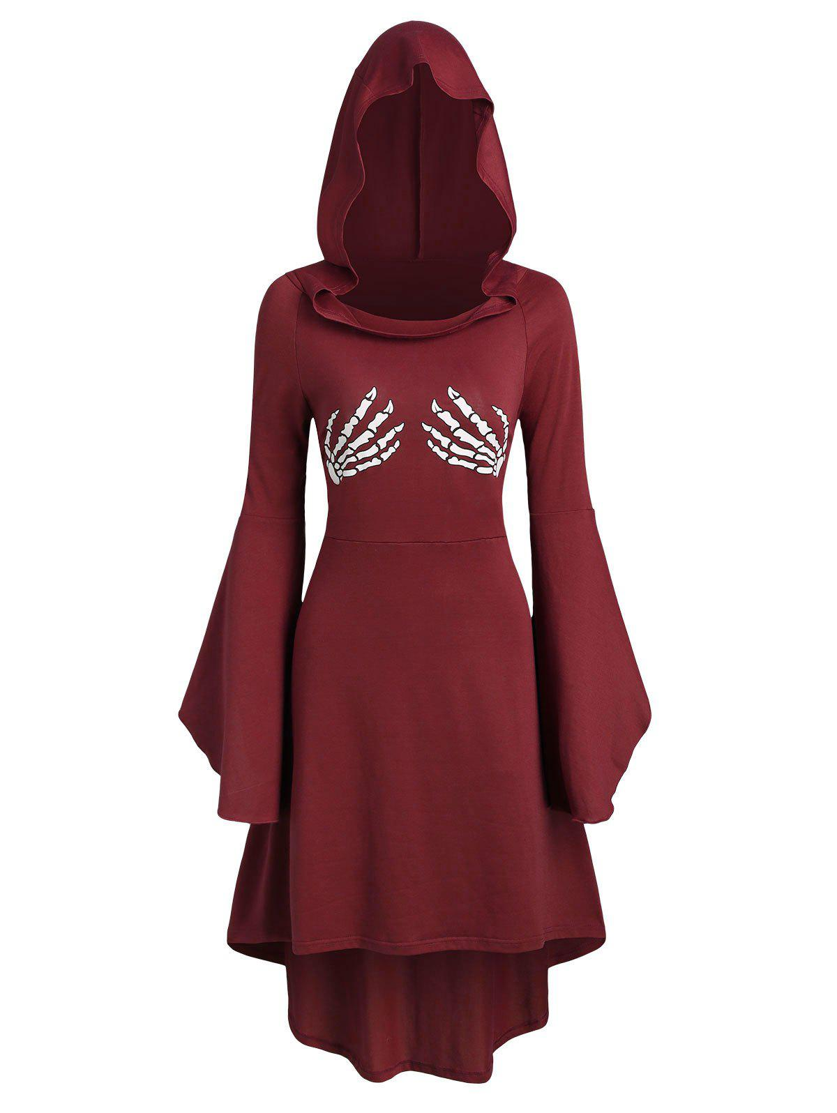 Fancy Skeleton Print Halloween Hooded High Low Dress