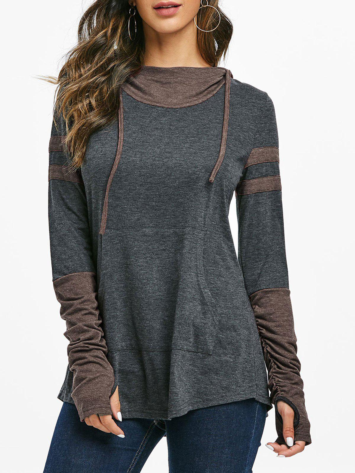 Outfit Hooded Ruched Sleeve Kangaroo Pocket Contrast Heathered T-shirt