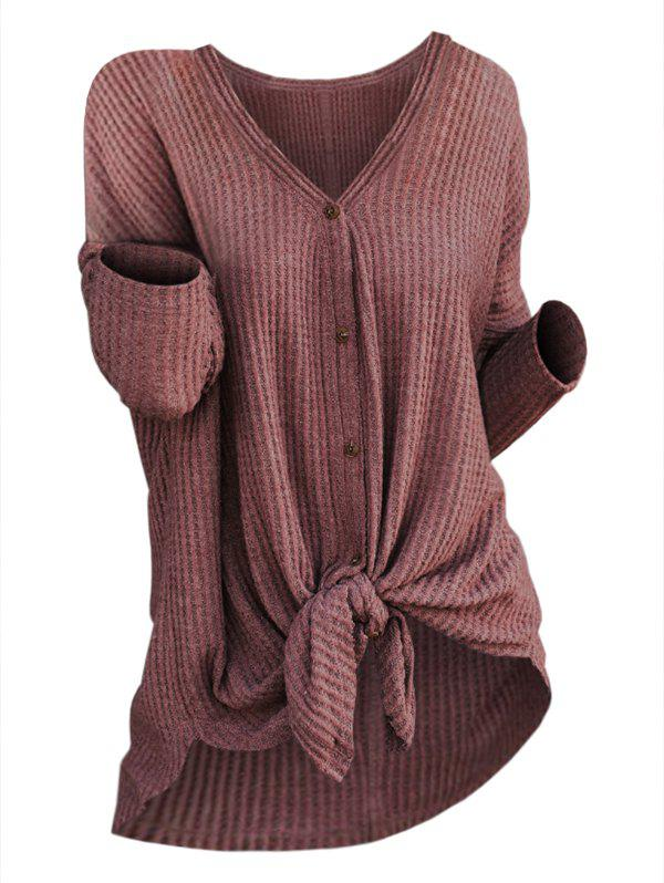 Best Plus Size High Low Knotted Knit Cardigan