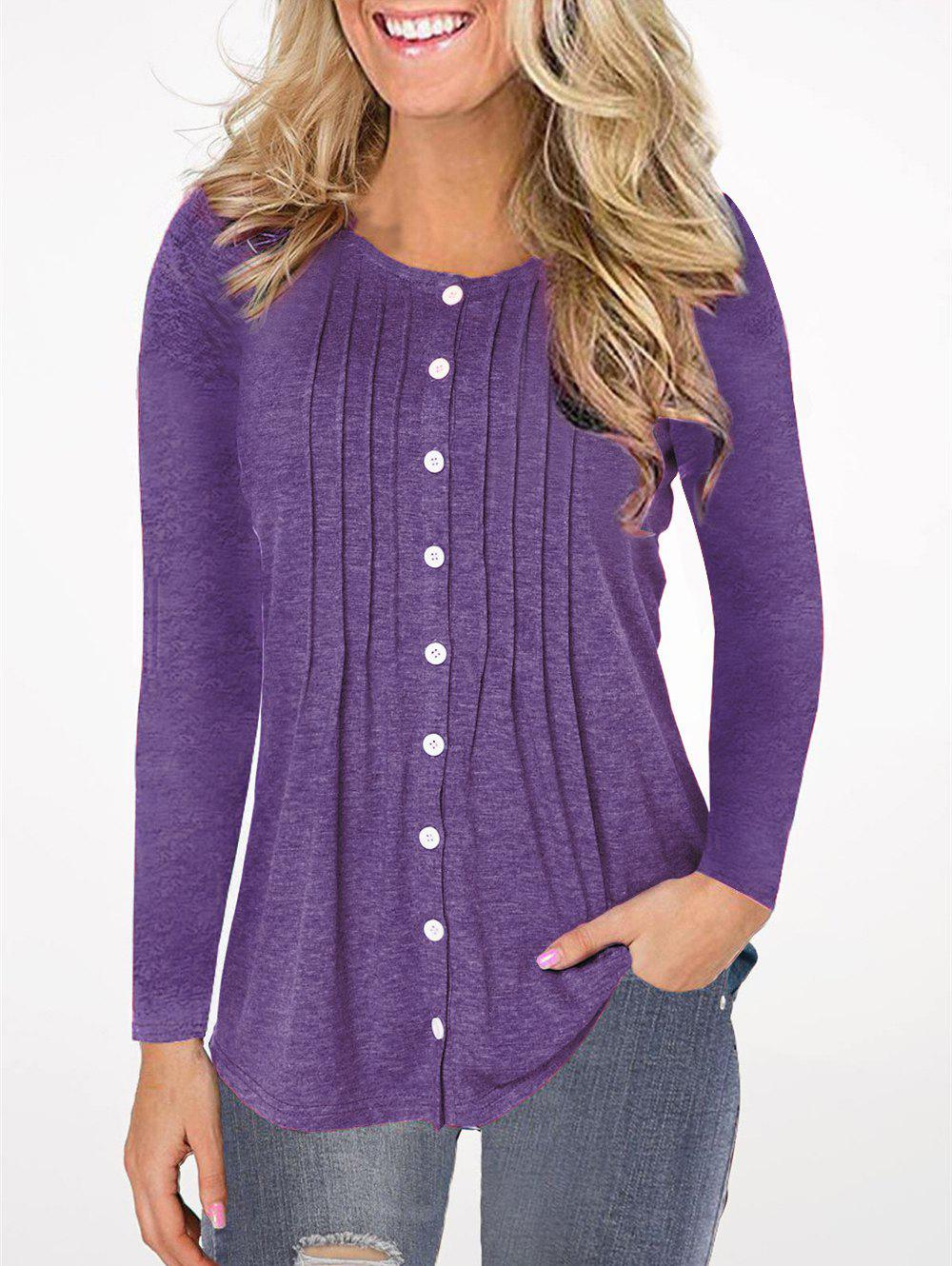 Chic Pleated Button Up Long Sleeve Top