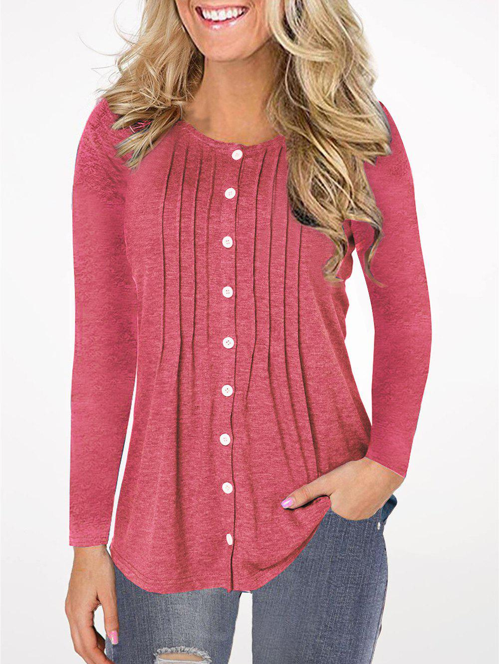 Outfits Pleated Button Up Long Sleeve Top