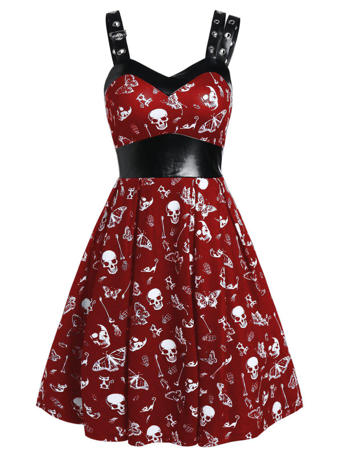 Discount Skull Print High Waist Fit And Flare Dress