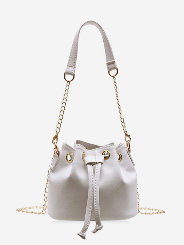 Hot Solid Color PU Leather Drawstring Bucket Bag