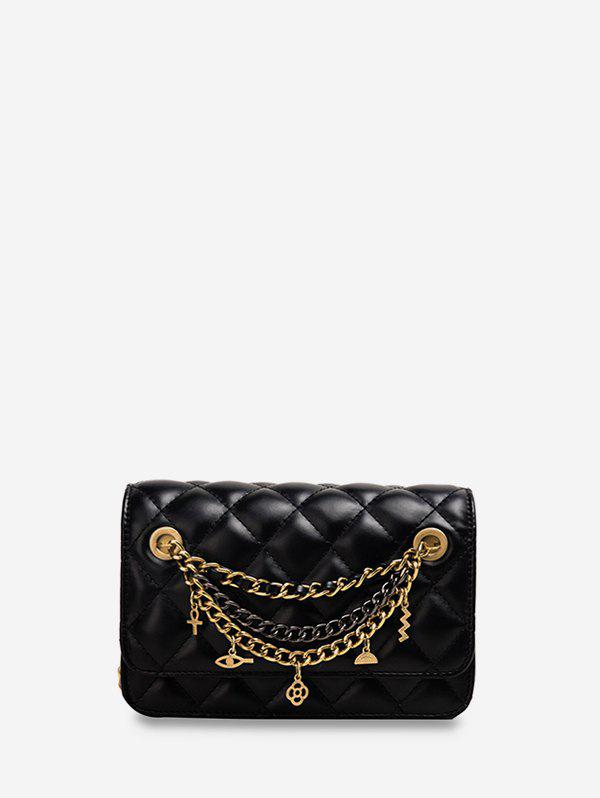 Online Chain Cross Floral Pendant Quilted Crossbody Bag