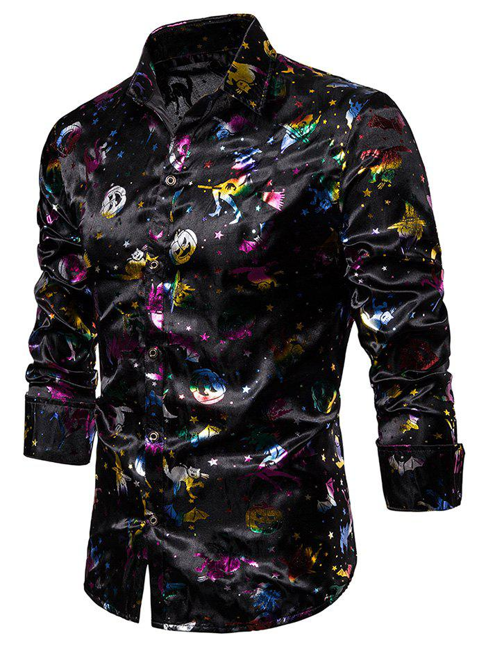 Trendy Colorful Halloween Gilding Print Button Up Shirt