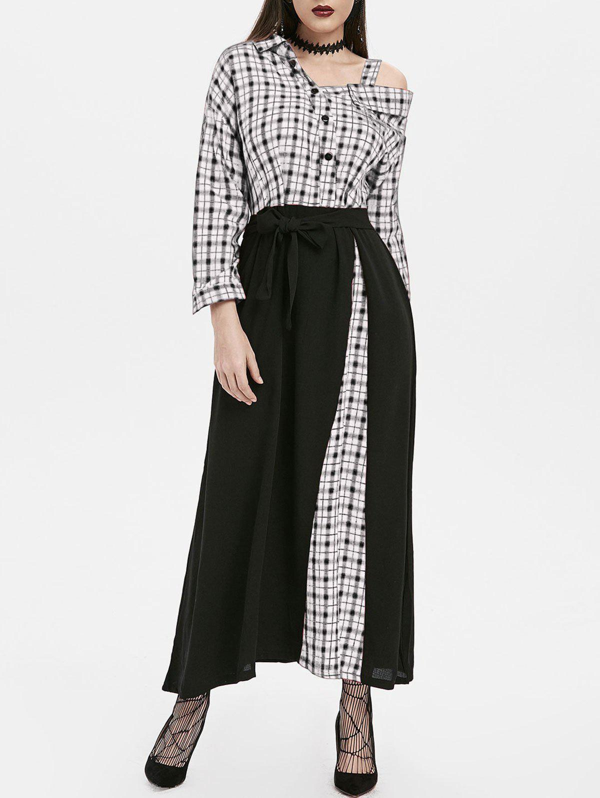 Online Plaid Button Embellished Skew Neck Maxi Dress