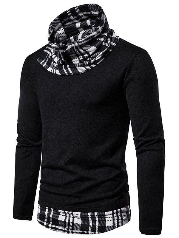 Online 2 in 1 Plaid Trim Cowl Neck Pullover Sweater