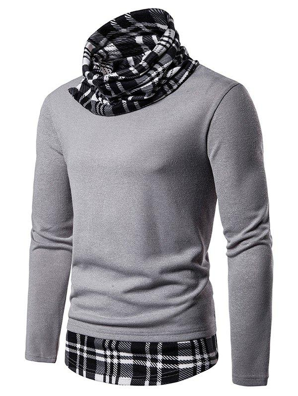Latest 2 in 1 Plaid Trim Cowl Neck Pullover Sweater