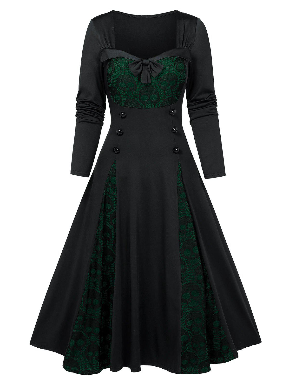 Outfit Halloween Skull Lace Insert Long Sleeve Mock Button Dress