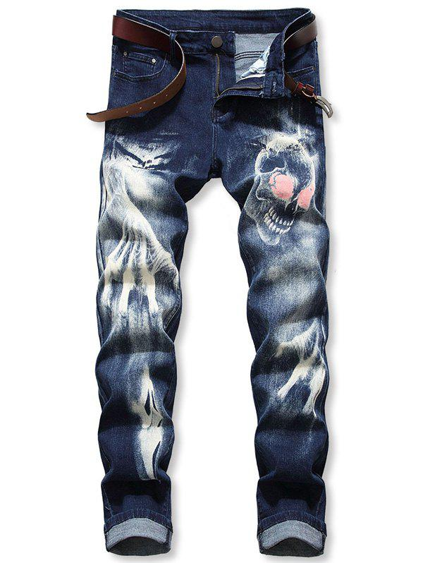 Latest Skull Print Zip Fly Casual Jeans