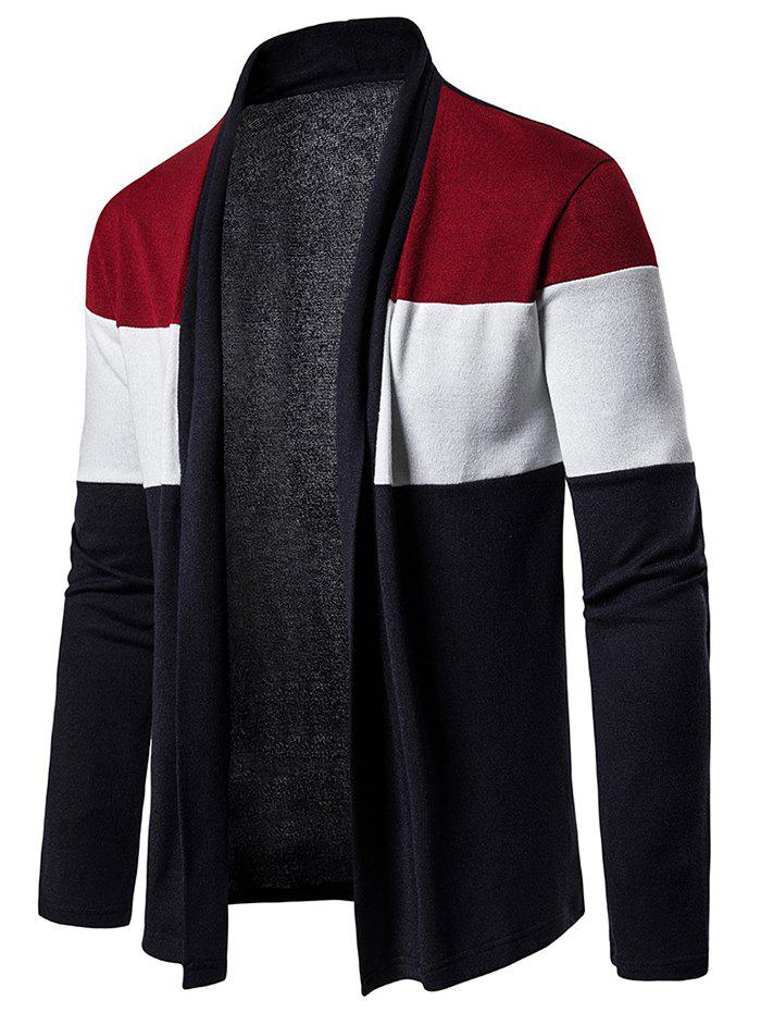 Outfit Color Block Open Front Long Sleeve Cardigan