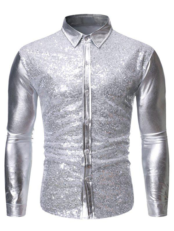 Discount Sequins Decoration Long Sleeves Shirt