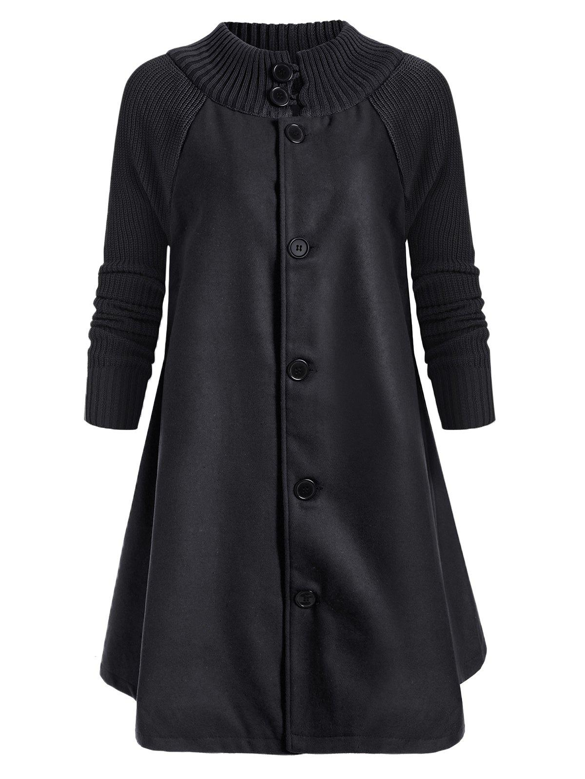 New Button Up Stand Neck Knitted Panel Coat