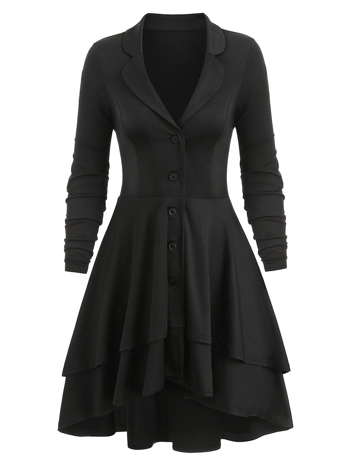 Latest Button Up High Low Lace-up Back Layered Skirted Coat