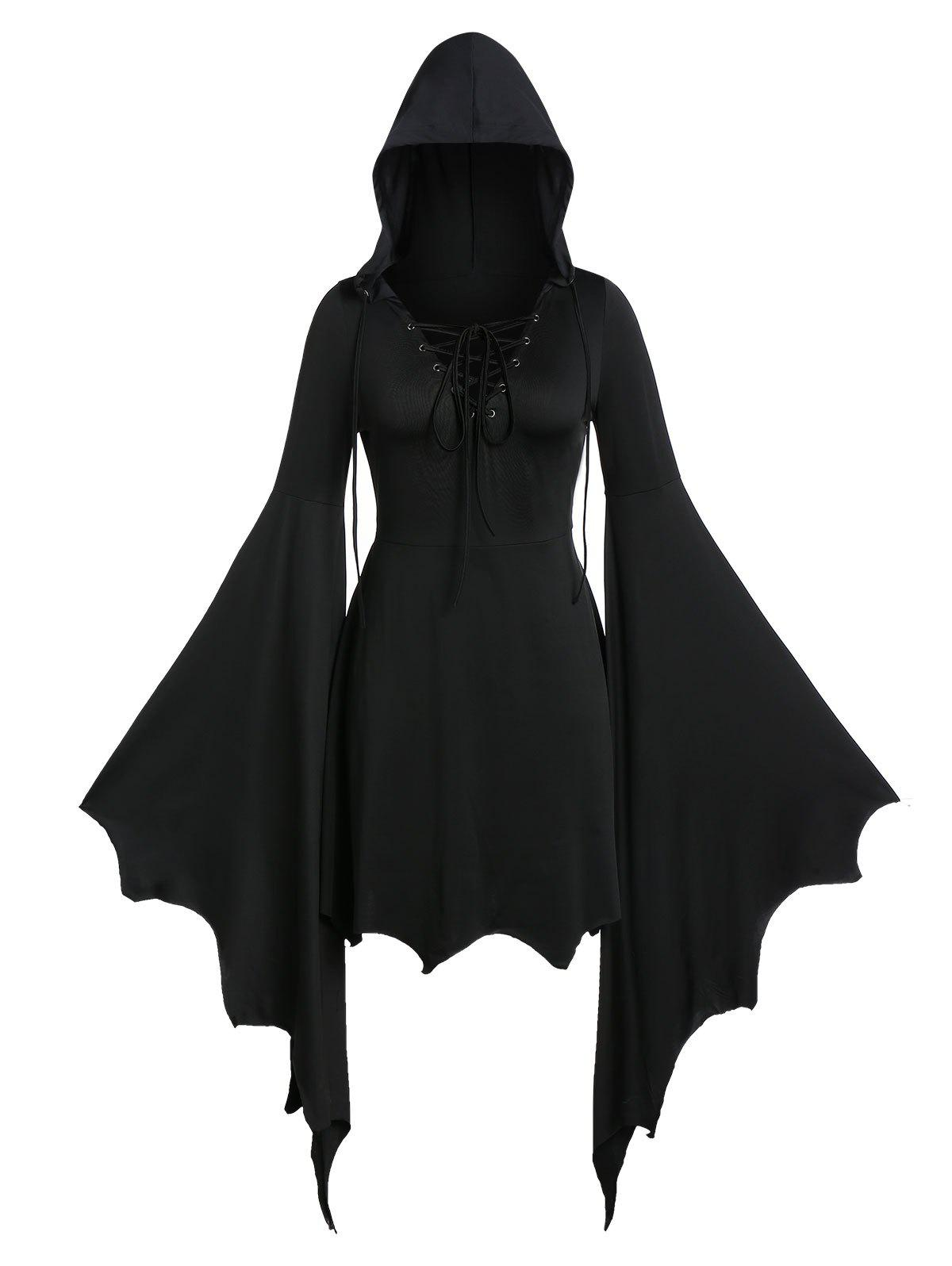 Shops Plus Size Flare Sleeve Lace Up Gothic Tunic Hoodie