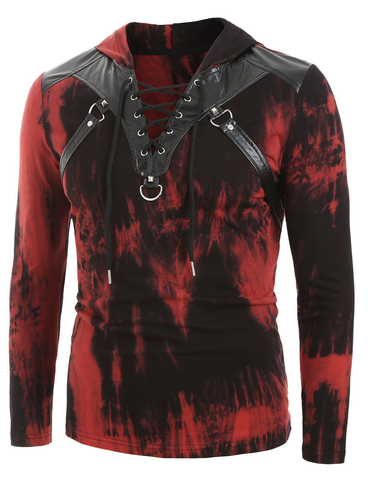 Hot Tie Dye Print Lace-up Faux Leather Insert Hoodie
