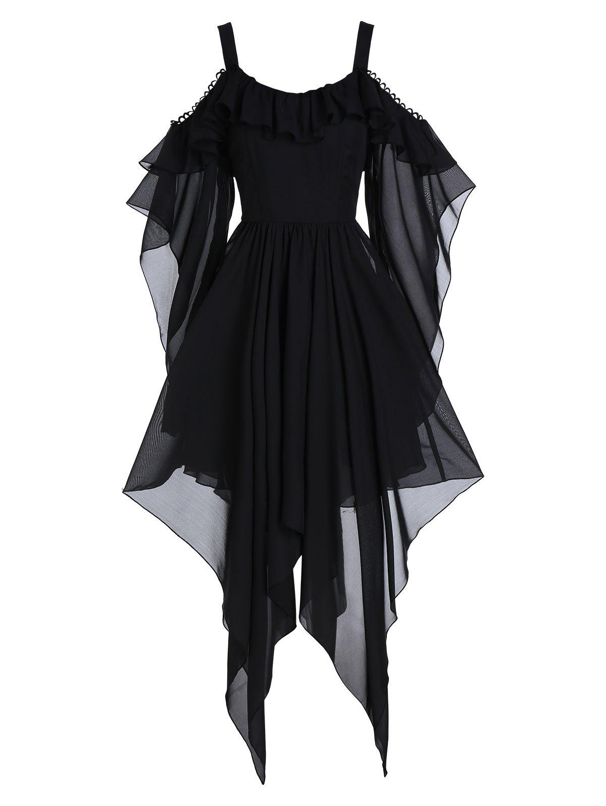 New Asymmetrical Picot Trim Open Shoulder Flounce Gothic Dress