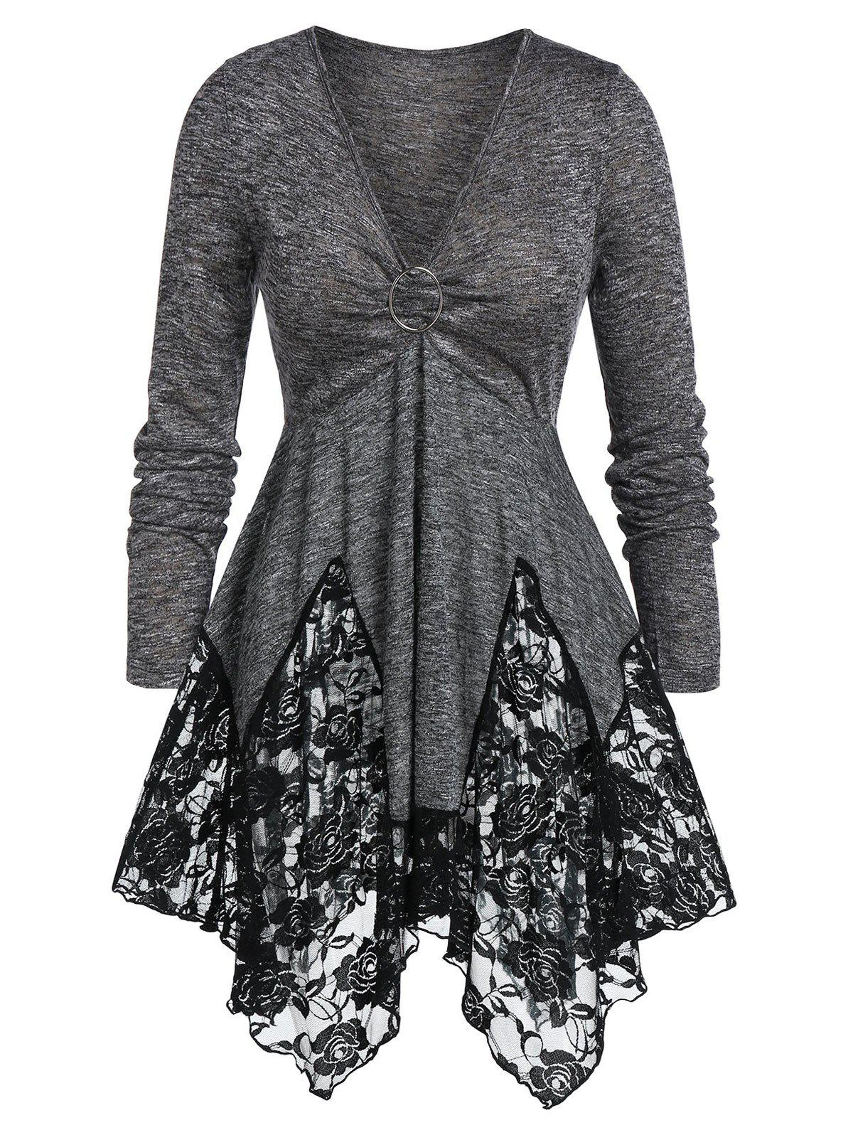 Best Plus Size Tunic Lace Panel Marled Plunging Neck Sweater