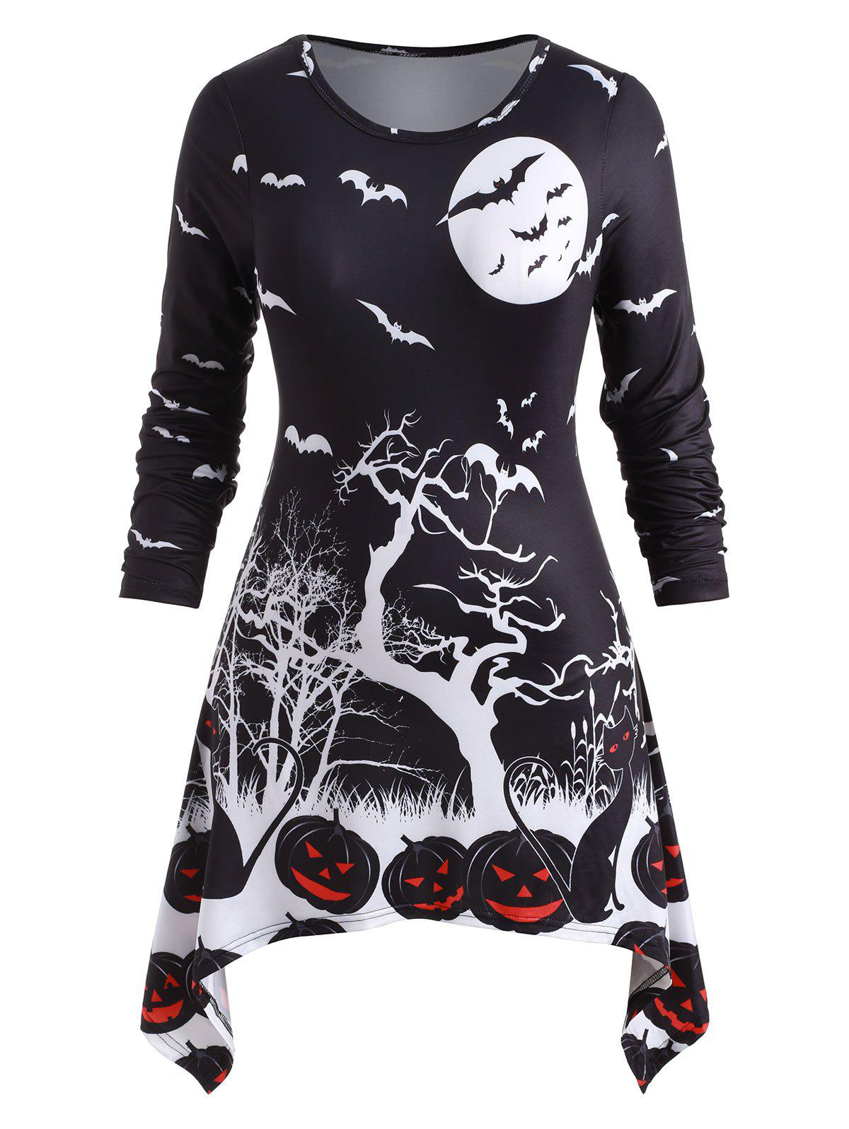 Outfits Plus Size Handkerchief Pumpkin Bat Print Halloween T Shirt