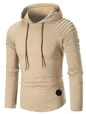 Pleated Raglan Sleeve Solid Color Hoodie