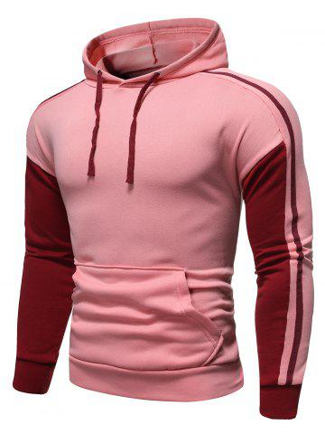 Contrast Trim Splicing Pocket Hoodie - PINK - 2XL