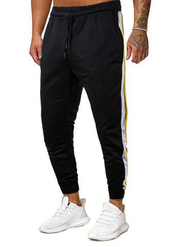 Color Spliced Drawstring Casual Style Pants