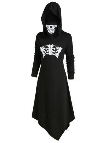 Skeleton Long Sleeves Halloween Hooded Dress with Mask