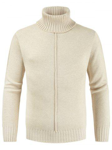 Casual Style Solid Color Turtleneck Sweater - BEIGE - 2XL