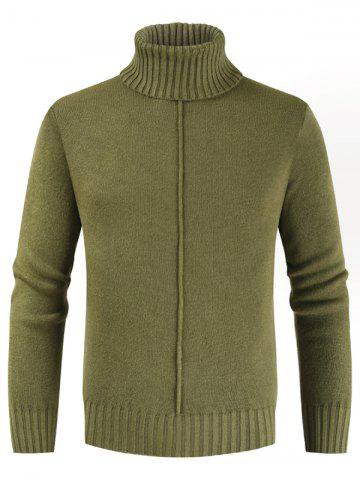 Casual Style Solid Color Turtleneck Sweater - FERN GREEN - L