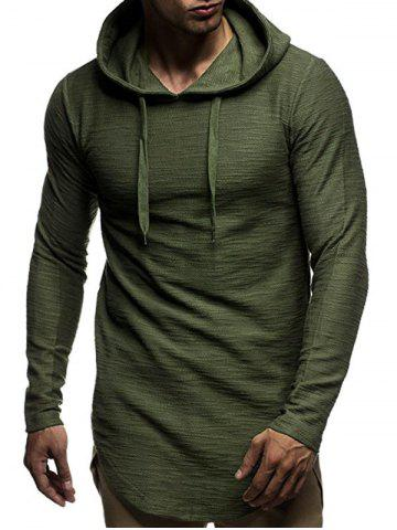 Long Sleeve Curved Hem Pullover Tunic Hoodie