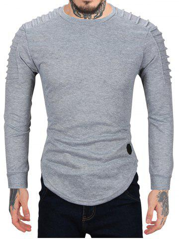 Pleated Sleeve Solid Color Curved Hem Sweatshirt