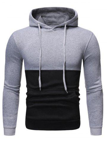 Two Tone Color Panel Pullover Hoodie